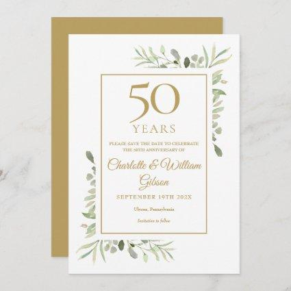 50th Golden Anniversary Save the Date Greenery  Invitation
