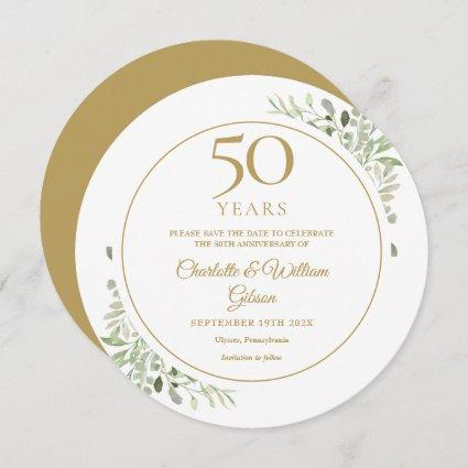 50th Golden Wedding Anniversary Greenery Circular Save The Date
