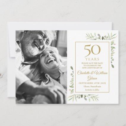 50th Golden Wedding Anniversary Greenery Photo Save The Date
