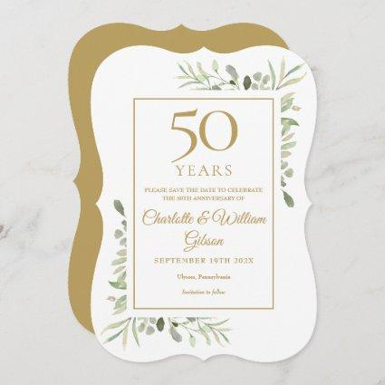 50th Golden Wedding Anniversary Greenery Save The Date
