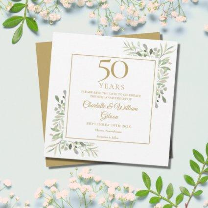 50th Golden Wedding Anniversary Greenery Square Save The Date