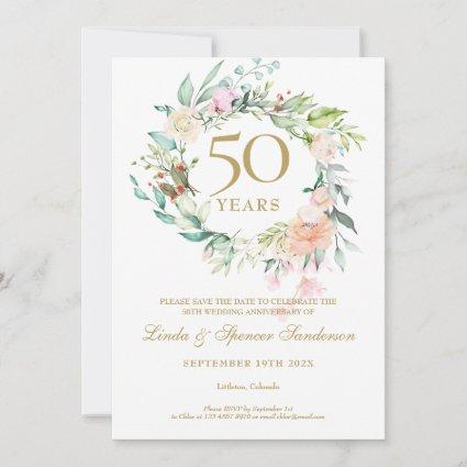 50th Golden Wedding Anniversary Roses Garland  Save The Date