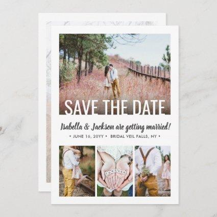 5 Photo Modern Minimal Typography Simple Wedding Save The Date