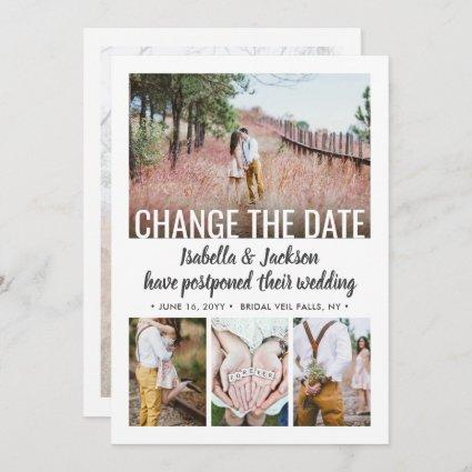 5 Photo Modern Minimal Wedding Postpone | Change | Save The Date