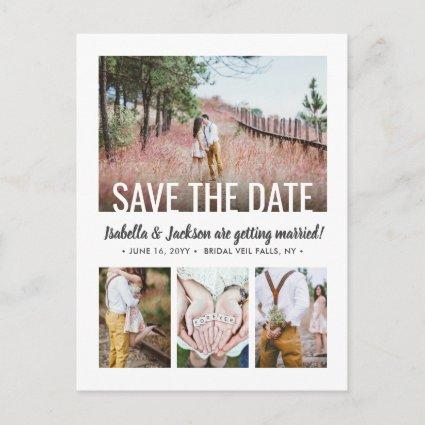5 Photo Simple Modern Unique Wedding Save the Date Announcement
