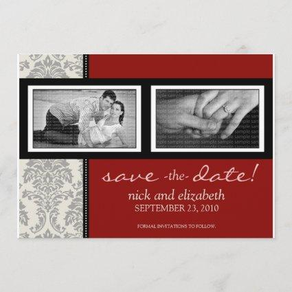 5X7 Baroque Black/Red Two-Photo Save the Date