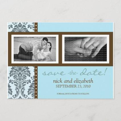 5X7 Baroque Teal Chocolate Two-Photo Save the Date