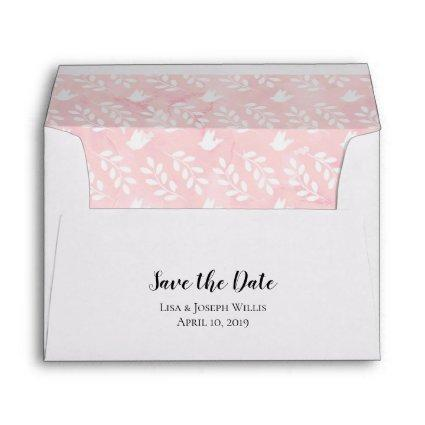 5x7 Pink Watercolor Doves Leaf Save the Date Envelope