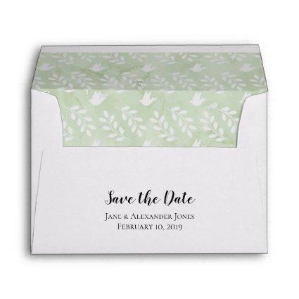 5x7 Sage Green Watercolor Doves Leaf Save the Date Envelope