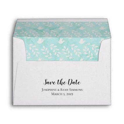 5x7 Teal Blue Watercolor Doves Leaf Save the Date Envelope