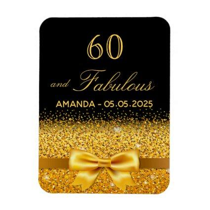 60 fabulous birthday black gold bow save the date magnet