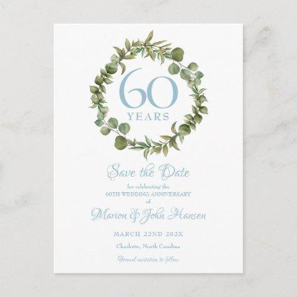 60th Anniversary Save the Date Greenery Floral