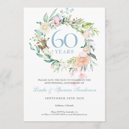 60th Anniversary Save the Date Roses Garland Invitation