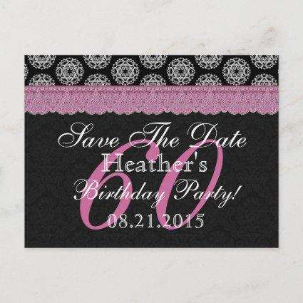 60th Birthday Save the Date Black White Pink Announcement