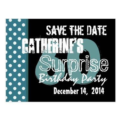 60th birthday save the date save the date cards save the date cards 60th surprise birthday aqua black cards bookmarktalkfo Gallery