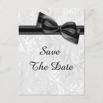 65th Birthday Damask and Faux Bow Save The Date Announcement