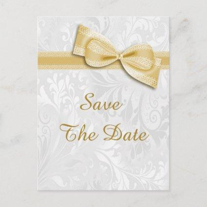 70th Birthday Damask and Faux Bow Save The Date Announcement