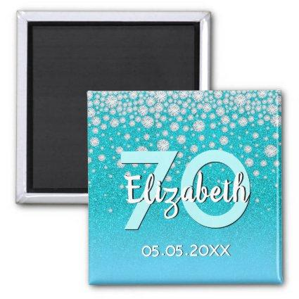 70th birthday diamonds glitter teal blue green magnet