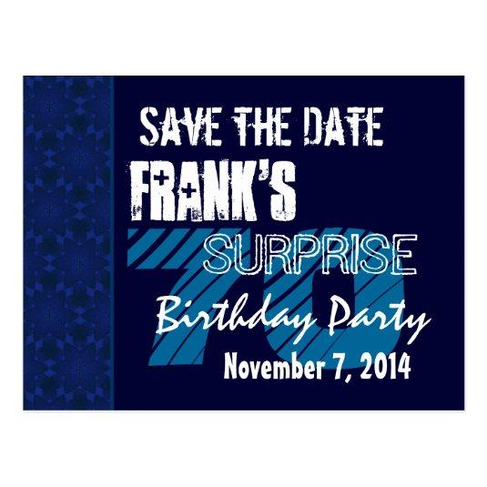 70th Surprise Birthday Save the Date Blue Pattern Cards Save the – Save the Date Cards Birthday