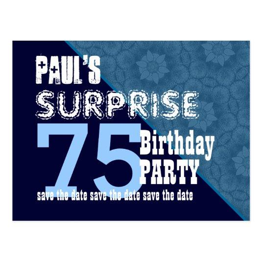 75th surprise birthday diagonal vb20 cards save the date cards