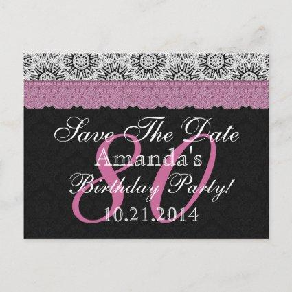 80th Birthday Save the Date Black White Pink Announcement