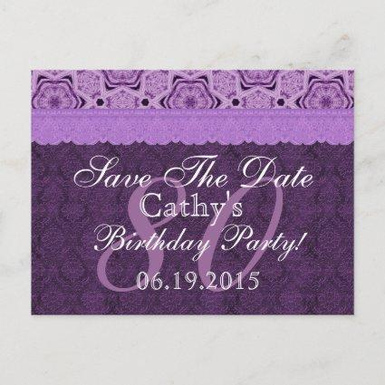80th Birthday Save the Date Purple Antique Lace Announcement