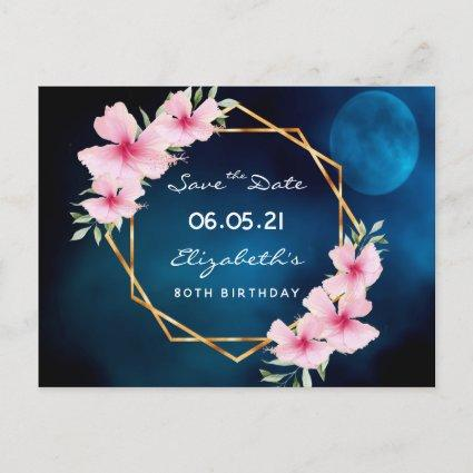 80th birthday Save the Date tropical blue moon