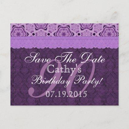 90th Birthday Save the Date Purple Antique Lace Announcement