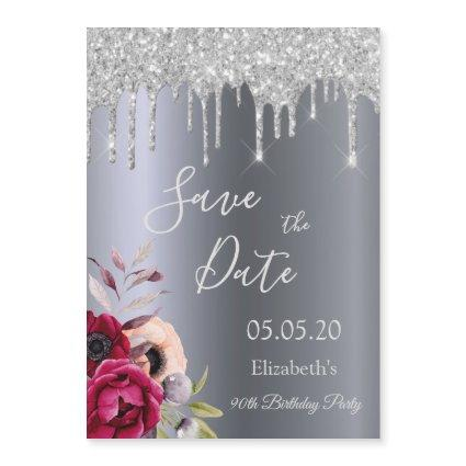 90th birthday silver glitter Save the Date magnet
