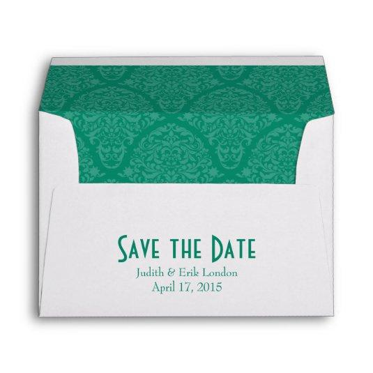 a7 5 7 emerald green white envelopes save the date cards