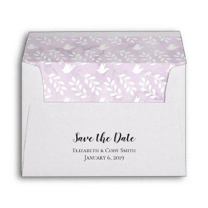 A7 5x7 Purple Watercolor Doves Leaf Save the Date Envelope
