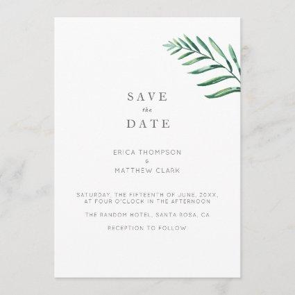 A Simple Greenery Save The Date Card