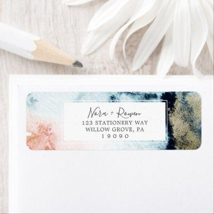 Abstract Celestial Watercolor Return Address Label