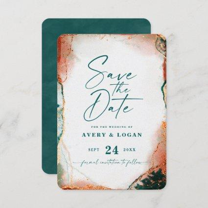 Abstract Ethereal Dark Teal & Copper Fall Wedding Save The Date