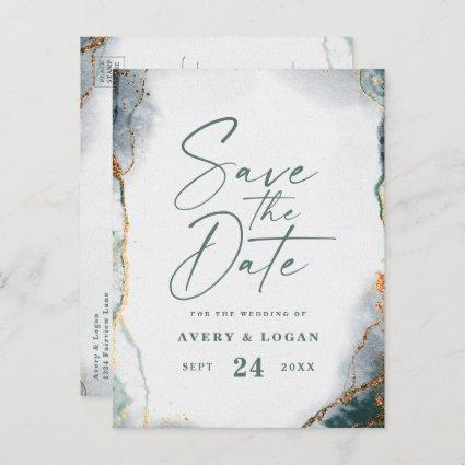 Abstract Ethereal Green Gold Wedding Save The Date Announcement