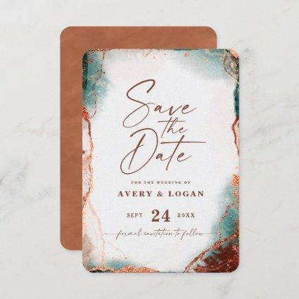 Abstract Ethereal Watercolor Terra Cotta Wedding Save The Date