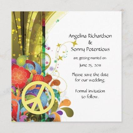 Abstract Florals and Peace Sign Save The Date