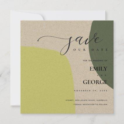 ABSTRACT KRAFT CHIC LIME GREEN SAVE THE DATE CARD