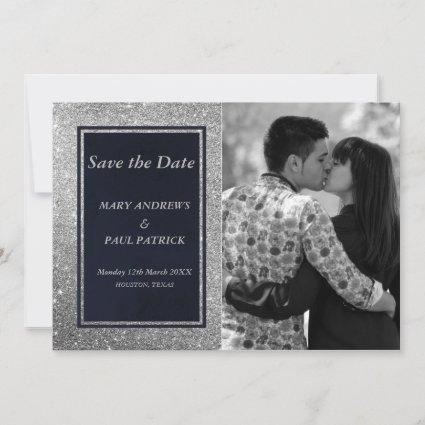 Abstract navy blue silver glitter Save The Date