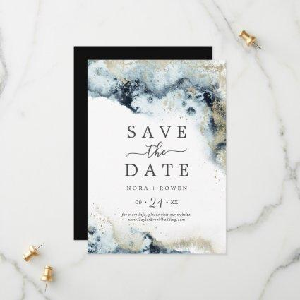 Abstract Navy Celestial Save the Date Card
