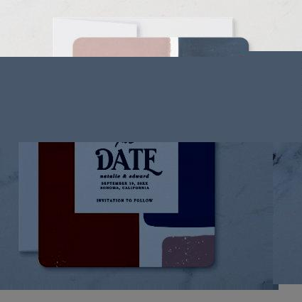 Abstract rust, navy + pink modern save the date