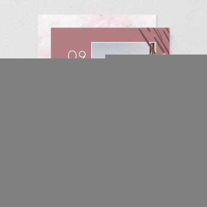 Abstract Shapes Dusty Rose Marble Back & 2 Photos Save The Date