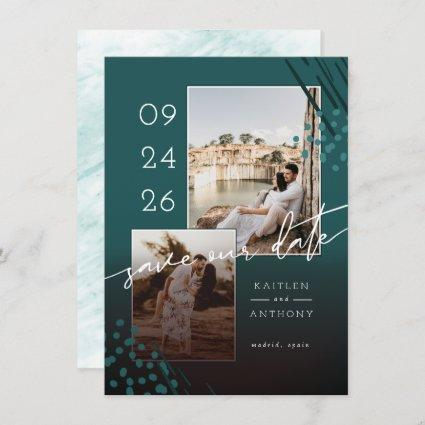 Abstract Shapes Teal Green Marble Back & 2 Photos Save The Date