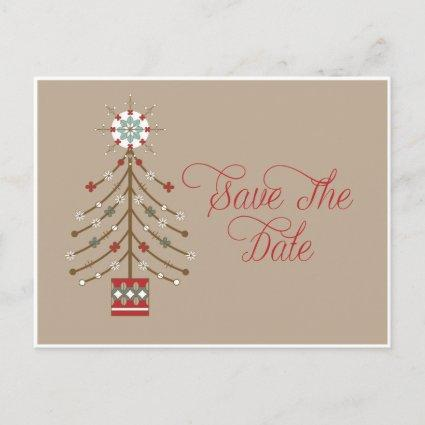 Abstract Southwestern Christmas Tree Save The Date Announcement