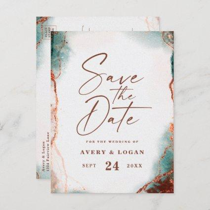 Abstract Terra Cotta Fall Wedding Save The Date Announcement
