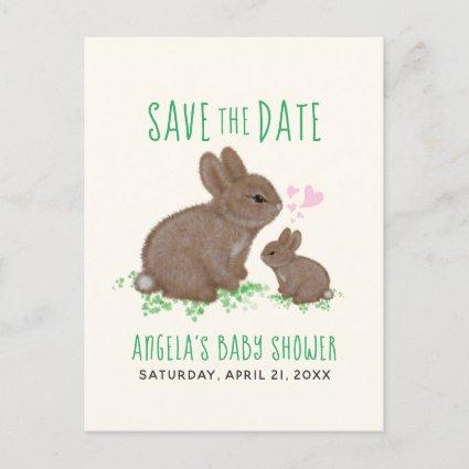 Adorable Bunnies Hearts Baby Shower Save The Date Announcement