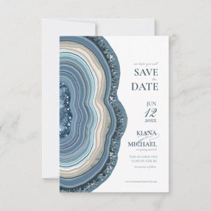 Agate Geode Glitter Wedding Dusty Blue ID647 Save The Date