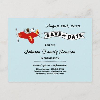 Airplane Sky Banner Family Reunion  Announcements Cards