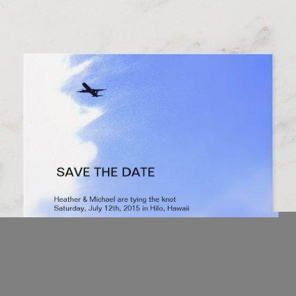 Airplane Sky Destination Wedding Save The Date Announcement