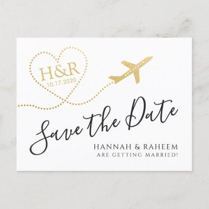 Airplane with Heart Destination Wedding Save Date Announcement